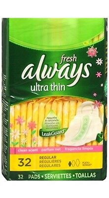 Always Fresh Ultra Thin Pads w/ Wings, Regular, 32 Ct (6 Pack)