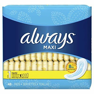 Always Maxi Pads, Regular, 48 Ct (6 Pack)
