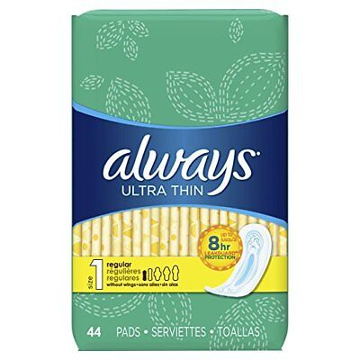 Always Ultra Thin Pads, Regular, 44 Ct (6 Pack)