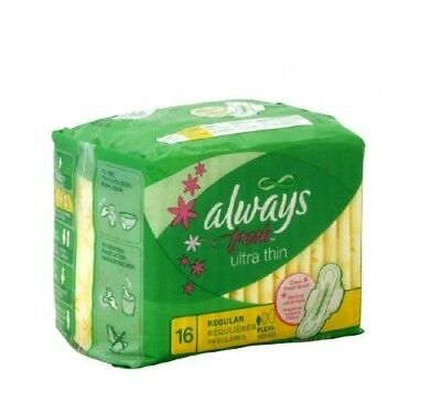 Always Fresh Ultra Thin Pads w/ Wings, Regular, 16 Ct (12 Pack)