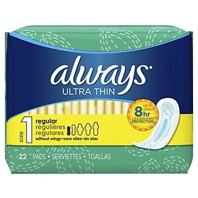 Always Ultra Thin Pads, Regular, 22 Ct (12 Pack)