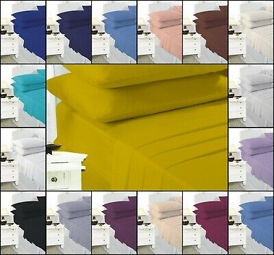 Easy Care Polycotton Plain Dyed Duvet Quilt Cover Pillowcases Single Double King