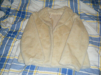 OTEX Ladies White Faux Fur Jacket Size 14 in Good Condition