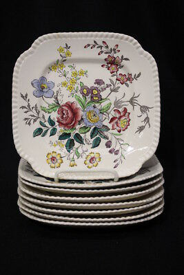 "RARE Set of 8 Vintage Copeland Spode ROMNEY S228 8.25"" Square Luncheon Plates"