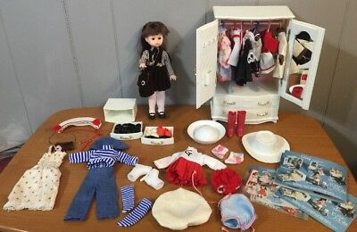 Vintage 1977 Ginny Doll Wardrobe Accessories Dresses Sleepwear Hat Shoes Lot