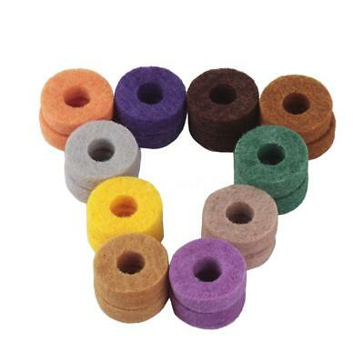 20pcs Colorful Cymbal Stand Felt Washer Pad Replacement Round Soft for Drum S1S1