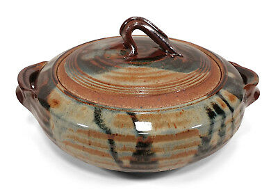Beautifully Glazed Hand Thrown Studio Art Pottery Covered Dish Lidded Bowl 1993