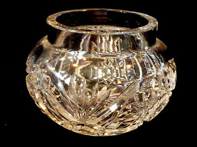 VTG  American Brilliant Crystal Cut Clear Crystal Bowl or vanity box Star Burst