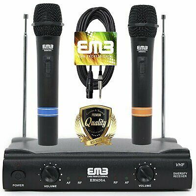 EMB VHF Professional Dual Wireless Handheld HIFI Microphone Long Range w/ Cable