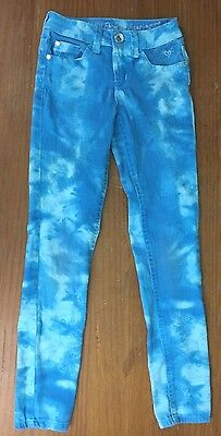 Justice Premium Jeans Girl's Turquoise Tie Dye Jeans - Size 10 S