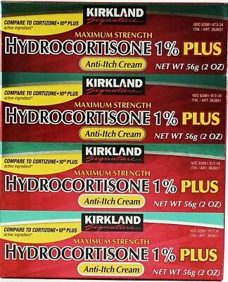 KIRKLAND 1% PLUS HYDROCORTISONE AntiI-Itch Rash Relief Cream 2 oz x 4 Tubes