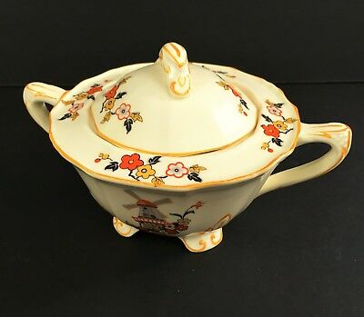 Alfred Meakin 1930's Sugar bowl w/ lid Delicia Windmill pattern Footed Free ship
