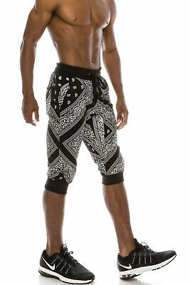 29df1a6e9 Hip Hop Hipster Men's Bandanna French Terry Jogger Sweat Shorts With Pockets