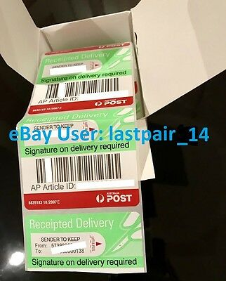 1000x SPECIAL Australia Post Signature On Delivery Tracking Label Receipted SOD