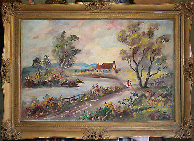 Large Antique Vintage Oil on Canvas, Impressionism Painting in original frame