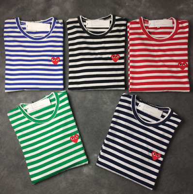 Striped Men's Women Comme Des Garcons Cdg Play Red Heart Long Sleeve T-Shirt @