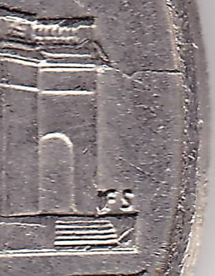 2014P USA 5c coin - Die crack & extra metal right side of monument