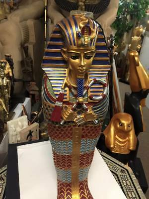 Vintage Large   Hand Made  Egyptian King Tut Coffin 21''  Made In Egypt