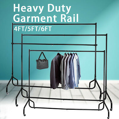 Metal Clothes Rail Garment Dress Rolling Rack Home Shop Hanging Stand 4/5/6FT