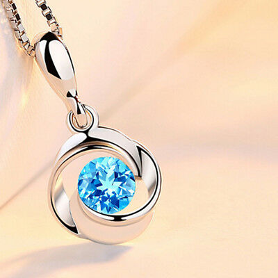 Precious Aquamarine Gemstone Silver Plated Necklace Pendant Women Jewelry Useful