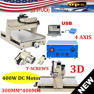 USB 4Axis 3040 CNC Router Engraver/Engraving Milling Drill Machine Cutter Mach3