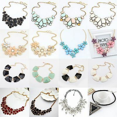 Fashion Crystal Flower Charm Choker Chunky Statement Bib Alloy Collar Necklace