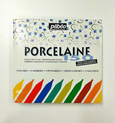 PEBEO Porcelain 150 Markers Set of 9 - Regular Tip/Nib Assorted Colours
