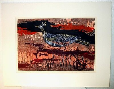 "Japanese Original Woodblock Print ""Blue Bird"" by Tamami Shima"