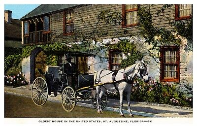 Oldest House in US St Augustine Florida Linen Postcard