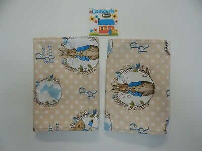 Burp Cloths Peter Rabbit Blue  - Toweling Backed 2 Pack
