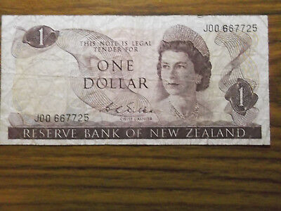 a pre loved 1 Dollar banknote from new zealand
