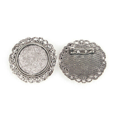 10PCS Alloy Brooch Cabochon Settings with Iron Pin Back Antique Silver Tray 25mm