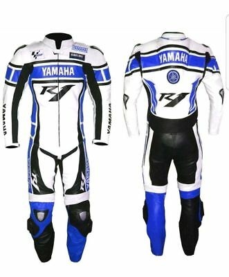 Yamaha R1 Motorcycle Leather Racing Suit Ce Approved Protection All Sizes