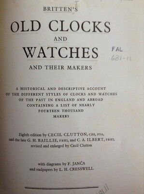Britten's Old Clocks & Watches 532 Page Large Coffee Table Hardback Book