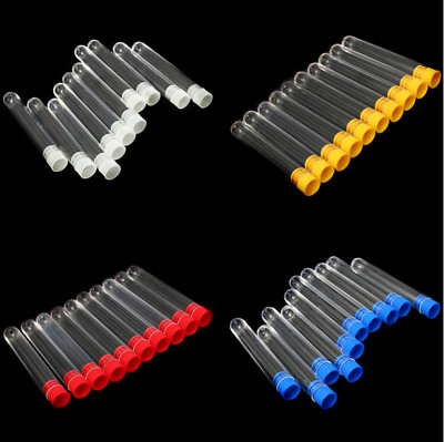25pcs 15x100mm Clear Plastic Vials Lab Test Tubes with color Caps Stoppers 12ml
