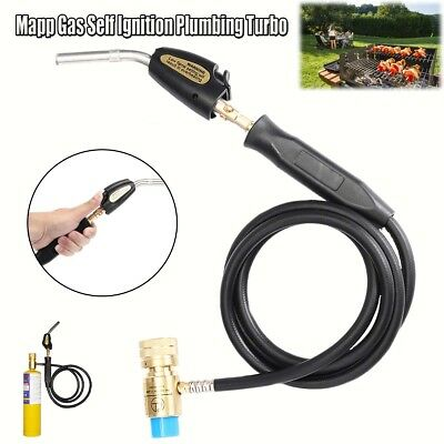 Mapp Gas Ignition Plumbing Turbo Torch With Hose Solder Propane Welding Brazing