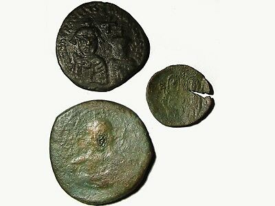 Lot Of 3 Byzantine Bronze Coins, Rare