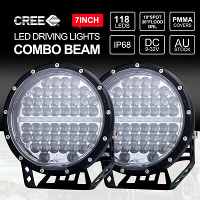 2x 7 inch LED Driving Lights CREE Round Spotlights 4x4 BLACK With DRL & Wiring