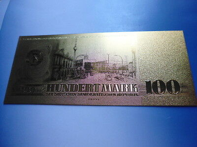 Ddr 100 Mark / 24 Karat Gold / Goldfoliennote Goldbarren #4913