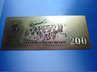 Ddr 200 Mark / 24 Karat Gold / Goldfoliennote Goldbarren #4914