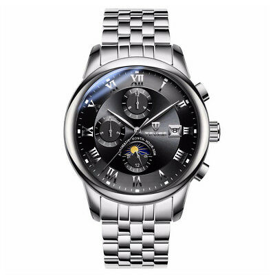 TEVISE Men Luxury Watch Stainless Steel Band Mechanical Automatic Moon Phase QU