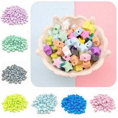 10X Silicone Baby Teether DIY Necklace Bracelet Five-pointed Star Model Beads H4