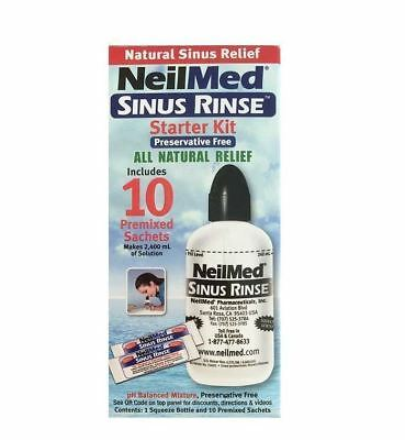 NeilMed Sinus Rinse Starter Kit avec 10 Packets 1 2 3 6 12 packs