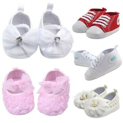 0-18 Months Newborn Baby Girl Boy Canvas Crib Shoes Soft Sole Anti-slip Shoes