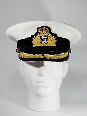 Royal Navy Officer Cap Captain1 Row Gold Peak PVC Cover New sizes 59 cms