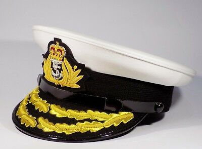 Royal Navy Admirals Cap Cotton Officer RN Queens Crown Gold Peak Sizes 57 58 59
