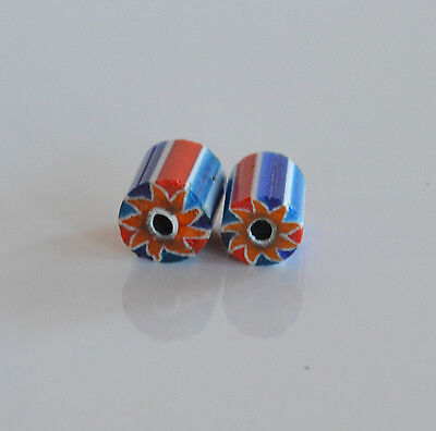 rare lot 2 pcs Antique African Venetian star Chevron trade beads blue red white
