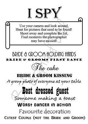 PACK OF 12 A6 TEXT Wedding I Spy Game Camera Game Table Favour Cards ...