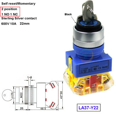 ON/OFF 22mm 1N/O 1N/C Momenary Security Key Switch Power Lock 2Position 660v 10A