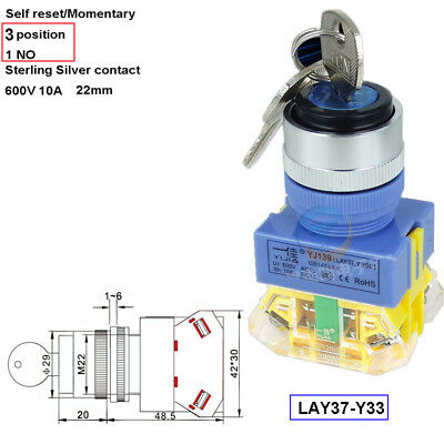 22mm 1NO Momenary Key Switch Power Lock ,Security Rotary 3 Position 660v 10A